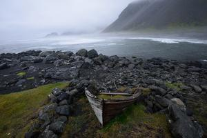 Wreck Boat Rests on Stokeness Beach in Hofn, Iceland by Keith Ladzinski