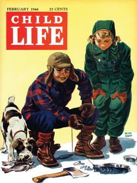 Ice Fishing - Child Life, February 1946 by Keith Ward
