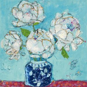 Vase of Peonies Aqua by Kellie Day