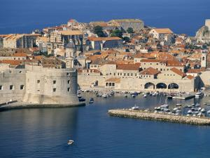 Aerial View of Harbour and Old City, Dubrovnik, Unesco World Heritage Site, Croatia by Ken Gillham