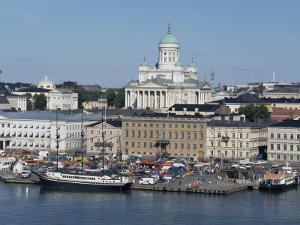 Harbour with Lutheran Cathedral Rising Behind, Helsinki, Finland, Scandinavia by Ken Gillham