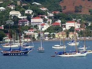Sailing Boats Moored Off Charlotte Amalie, St. Thomas, U.S. Virgin Islands, West Indies, Caribbean by Ken Gillham