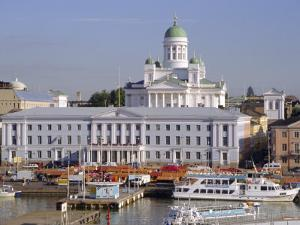 View to Market Square on Waterfront and Lutherian Cathedral, Helsinki, Finland, Scandinavia, Europe by Ken Gillham
