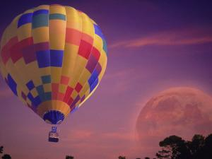 Hot Air Balloon and Moonrise by Ken Glaser