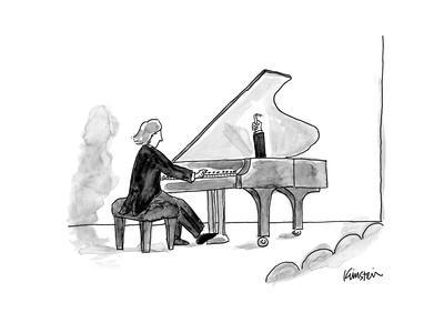 Grand piano held open with human arm. - New Yorker Cartoon