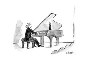 Grand piano held open with human arm. - New Yorker Cartoon by Ken Krimstein