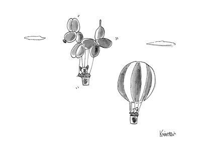 Man in hot air balloon passes dog in giant dog shaped balloon. - New Yorker Cartoon