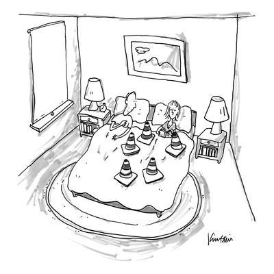 Man is blocked by woman's set of cones. - New Yorker Cartoon
