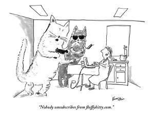 """Nobody unsubscribes from fluffykitty.com."" - New Yorker Cartoon by Ken Krimstein"