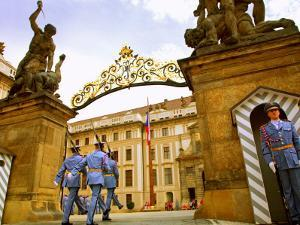 Czech Republic, Prague; a Castle Guard in Uniform Holding His Post at the Gate by Ken Sciclina