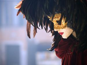 Italy, Veneto, Venice; a Venetian Mask on a Mannequin by Ken Sciclina