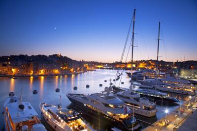 Europe, Maltese Islands, Malta. the Port of Vittoriosa with Luxury Yachts Parked at the Marina.
