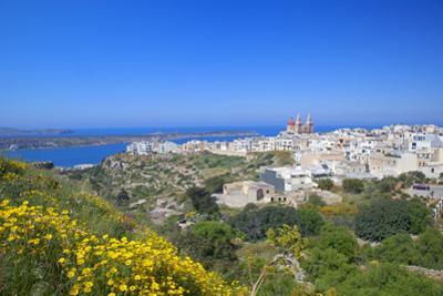 Europe, Maltese Islands, Malta. the Village of Melllieha Overlooking the Sea.