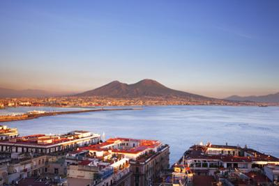 Italy, Campania, Naples. Elevated View of the City with Mount Vesuvius in the Background. by Ken Scicluna