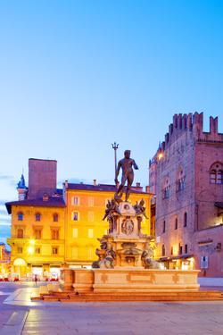 Italy, Emilia Romagana, Bologna. Piazza Maggiore with the Neptune Statue and Fountain. by Ken Scicluna