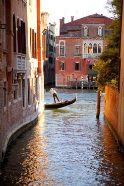 Italy, Veneto, Venice. a Gondolier Rowing His Gondola on the Grand Canal. Unesco by Ken Scicluna