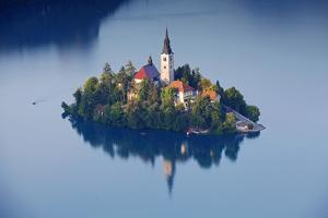 Slovenia, Julian Alps, Upper Carniola, Lake Bled. Aerial View of the Island on Lake Bled by Ken Scicluna