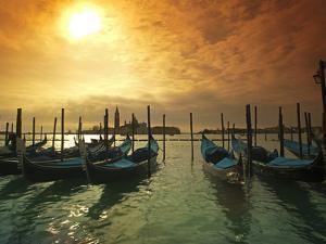 Venice, Veneto, Italy, Gondolas Tied at the Bacino Di San Marco by Ken Scicluna