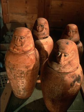 26th Dynasty Canopic Jars, Tomb of Iufaa, Abu Sir, Egypt by Kenneth Garrett
