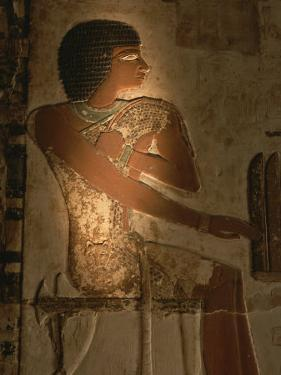A Stone Relief Depicts a Member of Ancient Egyptian Royalty by Kenneth Garrett