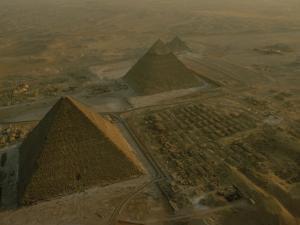 Aerial of Pryamids of Giza by Kenneth Garrett