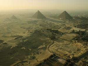 Aerial View of the Pyramids of Giza and Excavation Site by Kenneth Garrett