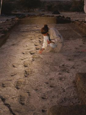 An Anthropoligist Examines 3.6 Million-Year-Old Laetoli Prints by Kenneth Garrett