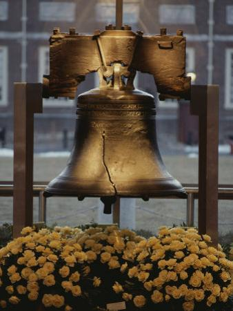Close View of the Liberty Bell, and Flowers Beneath It