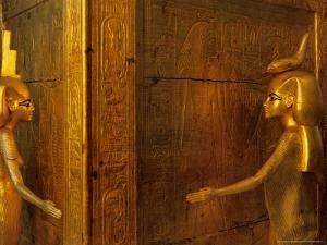 Detail of Goddess Selket, Pharaoh Tutankhamun, Egyptian Museum, Egypt by Kenneth Garrett