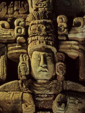Dr. Webster, Barbara Fash, Corn God, Copan, Maya, Honduras by Kenneth Garrett