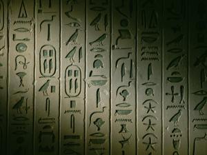 Egyptian Hieroglyphics Decorate the Walls of the Tomb of King Pepi I by Kenneth Garrett