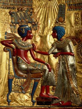 Gold Throne Depicting Tutankhamun and Wife, Egypt by Kenneth Garrett