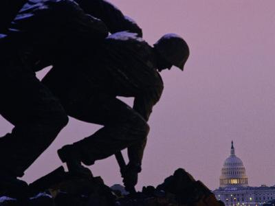 Iwo Jima Memorial with U.S. Capitol in Background, Washington, D.C. by Kenneth Garrett