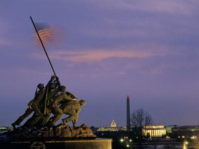 Iwo Jima Monument and Skyline of D.C. at Night, Washington, D.C. by Kenneth Garrett