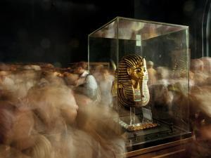 Tourists Visit King Tut's Funerary Mask in Cairo's Egyptian Museum by Kenneth Garrett