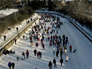 Skaters Enjoy a Beautiful Winter Afternoon on the Rideau Canal, Ottawa by Kenneth Ginn