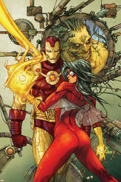 Astonishing Tales No.3 Cover: Spider Woman and Iron Man by Kenneth Rocafort