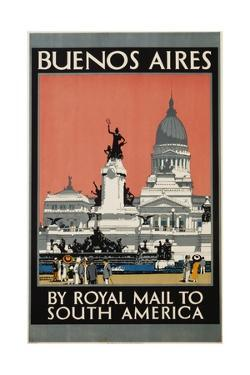 Buenos Aires by Royal Mail to South America Poster by Kenneth Shoesmith