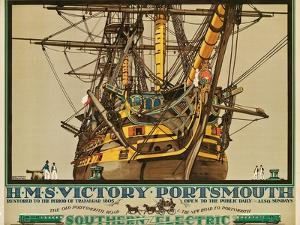 H.M.S. Victory, Portsmouth, Poster Advertising Southern Electric Railways by Kenneth Shoesmith