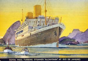 Postcard Depicting the Royal Mail Turbine Steamer Alcantara at Rio de Janeiro, 1930S by Kenneth Shoesmith