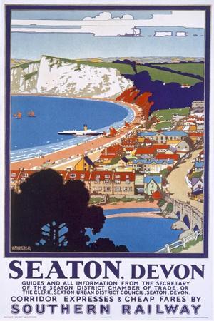 Seaton, Devon, Poster Advertising Southern Railway
