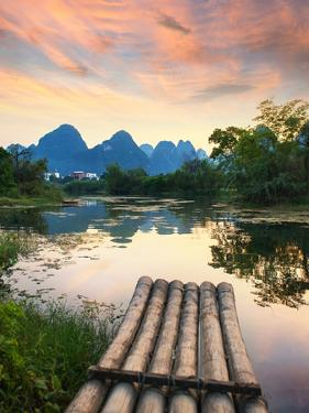 Bamboo Rafts in Idyllic Li River Scenery,Sunset Landscpae of Yangshuo in Guilin,China by kenny001