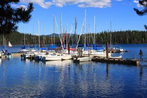 Usa, Oregon, Elk Lake, Sailing Boats at Marina by Kent & Charlene Krone