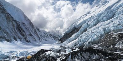 Camp 2 Ensconced in Snow, Ice and Clouds on the Upper Khumbu Glacier of Mount Everest