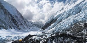 Camp 2 Ensconced in Snow, Ice and Clouds on the Upper Khumbu Glacier of Mount Everest by Kent Harvey