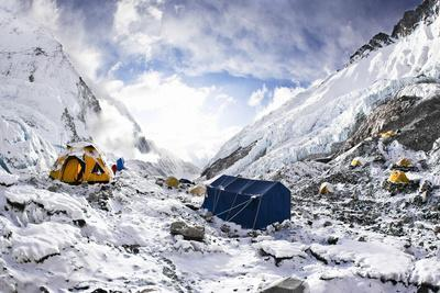 Camp Two on the Upper Khumbu Glacier at 21,500' on the South Side of Mount Everest, Nepal