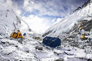 Camp Two on the Upper Khumbu Glacier at 21,500' on the South Side of Mount Everest, Nepal by Kent Harvey