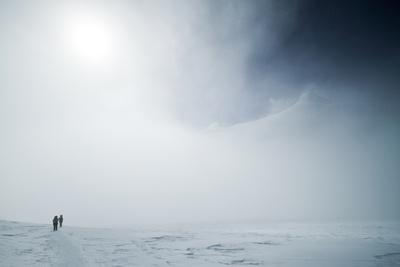Climbers Emerge from the Clouds En Route to Camp 2 on Vinson Massif, Antarctica