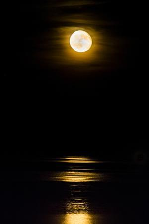 A Waning Moon Rises over the Occoquan River in Virginia One Night after the Full Moon