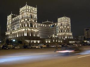 Baku's House of Government, Lit Up At Night by Kent Kobersteen